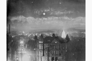 """HANDOUT: Willard E. Worden, """"San Francisco at Night – City Hall Illuminated,"""" 1903. Gelatin silver print. Robert Tat Collection.  """"Portals of the Past"""" exhibition at the de Young Museum, San Francisco, 2015. Miriam Newcomer - T:  415.750.3554. MNewcomer@famsf.org"""